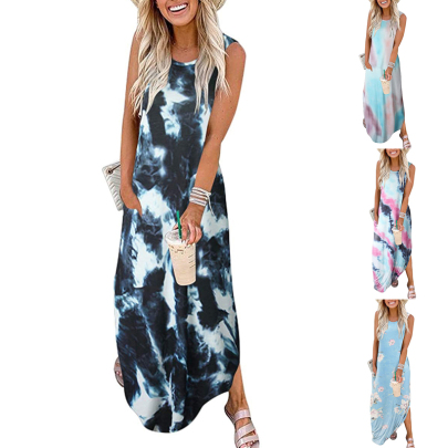 Summer Tie-dye Printing Long Loose Sleeveless Dress NSSUO62557