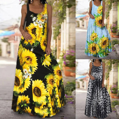 Summer Sleeveless Printed Slim Backless One-piece Dress NSSUO62556