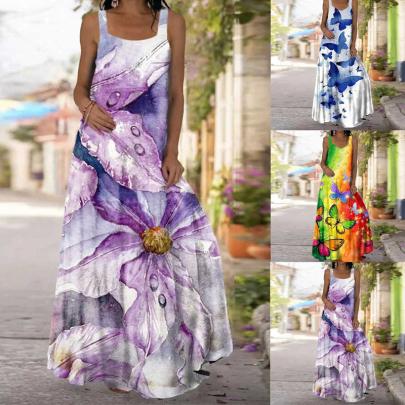 Summer Fashion Sleeveless Printed Thin Open Back Dress NSSUO62555