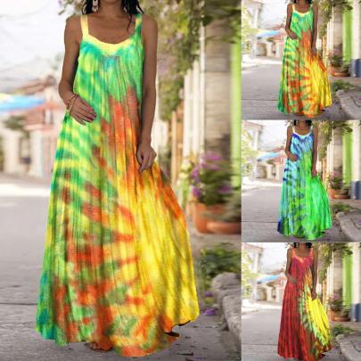 Summer Fashion Sleeveless Printed Backless Long Dress NSSUO62554