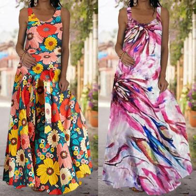 Slim Sleeveless Print Backless Long Dress NSSUO62553