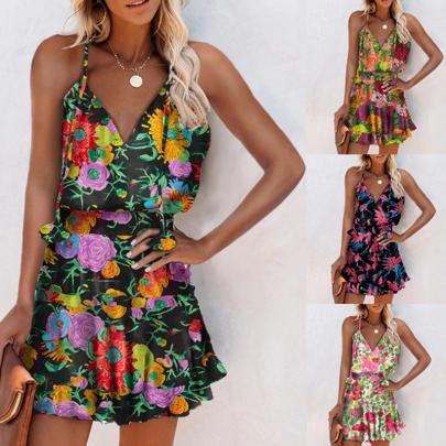 Summer Sexy V-neck Printed Halter Sling Short Dress NSSUO62552
