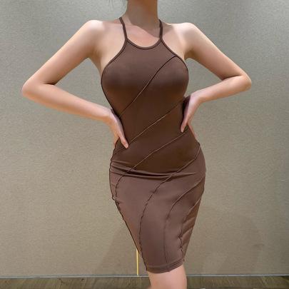 New Solid Color Sling Slim Dress NSYID62550