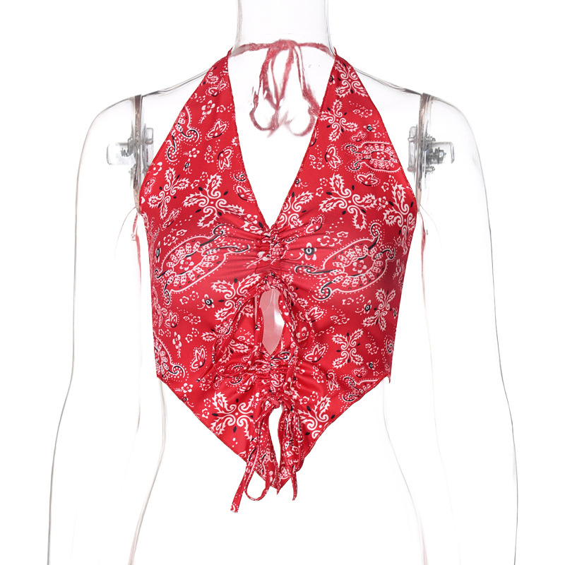 spring and summer hot product new printed suspender halter sexy vest NSYID62549