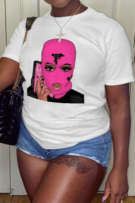 New Fashion Pink Hood Printed Short-sleeved T-shirt NSAIT62544