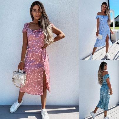 New Print Waist Slit Dress NSJC62504