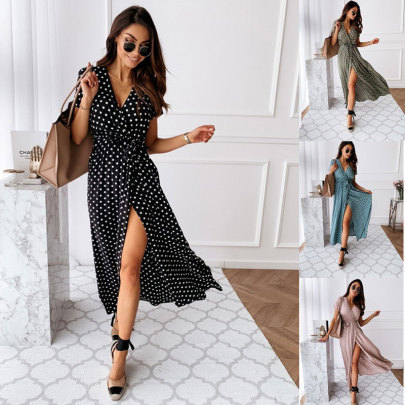 Summer Short Sleeve V-neck Bohemian Polka Dot Print Dress NSJC62503