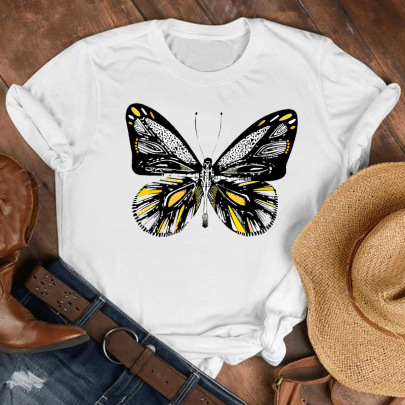 Cartoon Butterfly Flower Printed T-shirts NSAIT62501