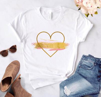 Heart Flower Print Casual Basic Round Neck White T-shirt NSAIT62500