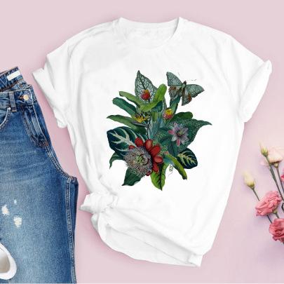 Pattern Flowers Fashion Casual Cute Retro T-shirt NSAIT62499