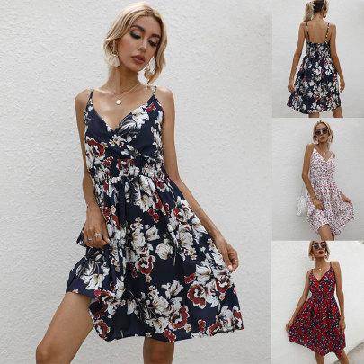 V-neck New Fashion Sling Print Dress  NSJC62492