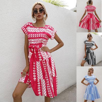 Printed Waist Round Neck Short Sleeve Dress NSJC62491