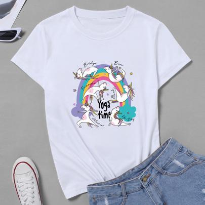 Unicorn Print Short-sleeved T-shirt NSYAY62756