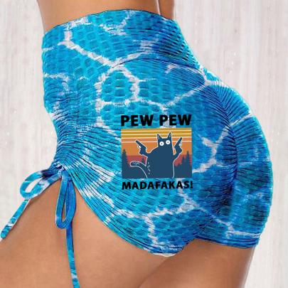 Summer Fashion Print Lace-up Stretch Hip Leggings NSJIN62707