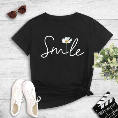 Summer New Short-sleeved Smile Small Daisy Print T-shirt NSYIC62480