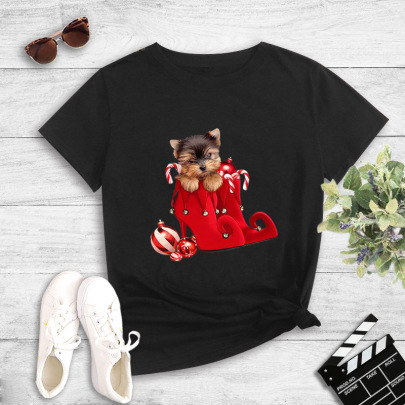 New Short-sleeved Creative Red Pattern Printing T-shirt NSYIC62481