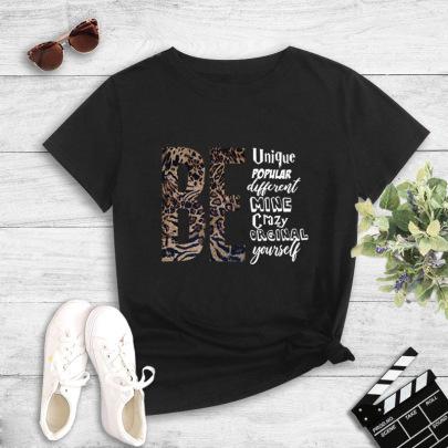 Summer Short-sleeved Leopard Print Color-blocking Letter Printing T-shirt NSYIC62483
