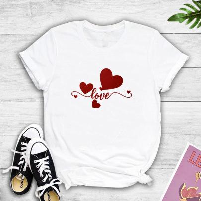 Short-sleeved Summer New Romantic Love Printing T-shirt NSYIC62484