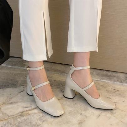 Mary Jane Thick-heeled Autumn New High-heeled Shoes NSHU62584