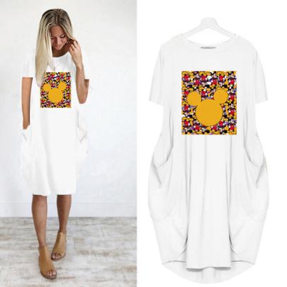 Summer Fashion Short Sleeve Round Neck Printed Thin Dress NSJIN62623
