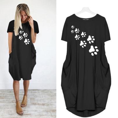 Summer Comfortable Fashion Short Sleeve Round Neck Printed Thin Dress NSJIN62622