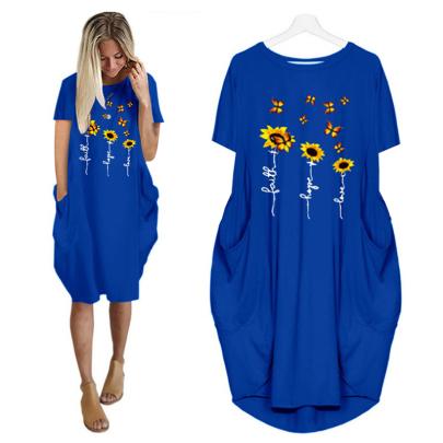 Summer Fashion Short Sleeve Round Neck Printed Thin Dress NSJIN62620