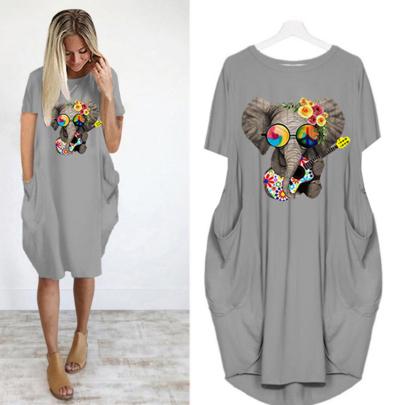 Summer Fashion Short Sleeve Round Neck Printed Thin Mid-length Dress NSJIN62619