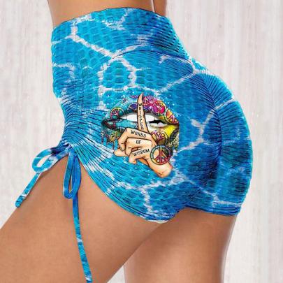 Print High Waist Stretch Hip Leggings NSJIN62614