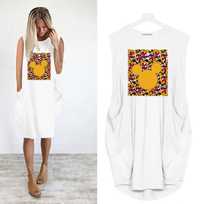 Summer Fashion Sleeveless Round Neck Printed Casual Dress NSJIN62613