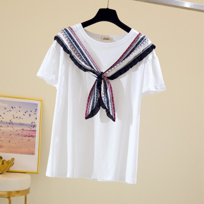 Lace-up Silk Scarf Pure Cotton White Shawl Short-sleeved T-shirt NSYID62612