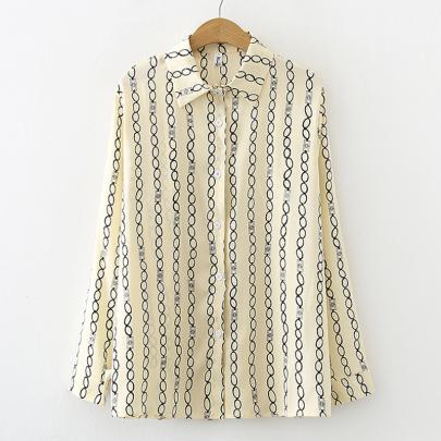 Chain Striped Chiffon Long-sleeved Satin Shirt NSYID62610