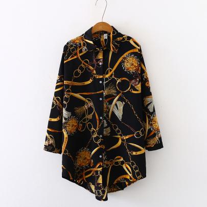 Summer Chiffon Shirt Chain Print Sunscreen Mid-length Long-sleeved Shirt NSYID62606