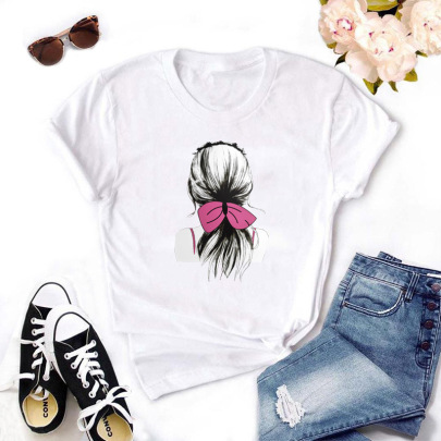 Short-sleeved Tie Hair Girl Print T-shirt NSYIC62591
