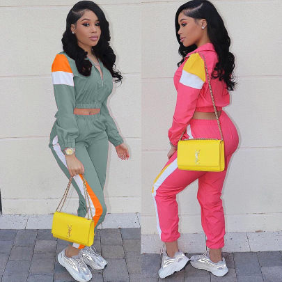 Casual Color Contrast Suit Splicing Sports Two-piece Set NSYF62644