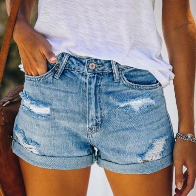 Fashion Casual Straight High Waist Denim Shorts NSYF62646