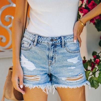 Ripped Fringed High Waist Thin Denim Shorts  NSYF62647