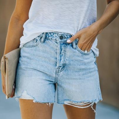 Raw Edge Slits Ladies High Stretch Denim Shorts NSYF62648