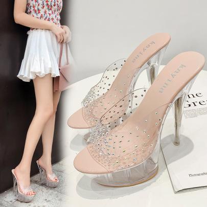 Crystal Heel Fancy Diamond Transparent Stiletto Sandals NSCA62653
