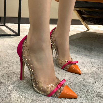 Transparent Film Rivets Bowknot Pointed Shallow High Heel Shoes NSCA62654