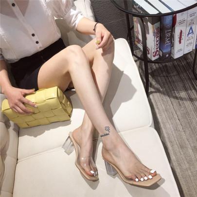 Transparent Crystal Heel Sandals NSCA62664