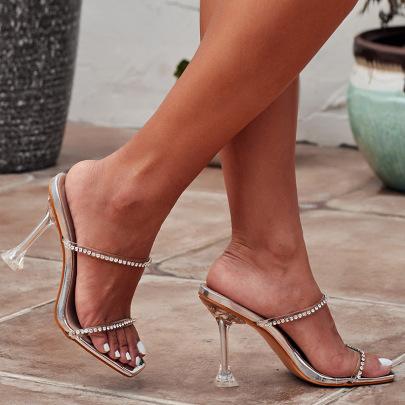 Square Toe Rhinestone Stiletto Sandals NSCA62665