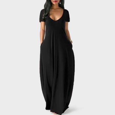 Pure Color Deep V Short Sleeve Long Dress  NSBTY62670