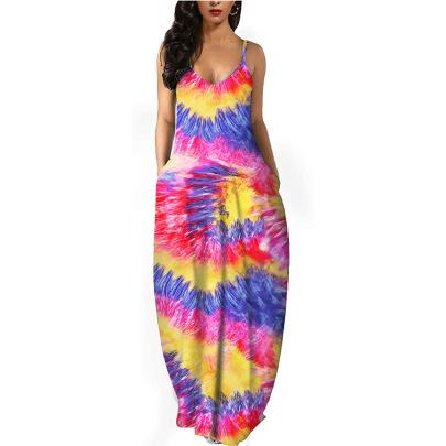 Tie-dye Gradient Diagonal Stripe Deep V Sling Dress NSBTY62671