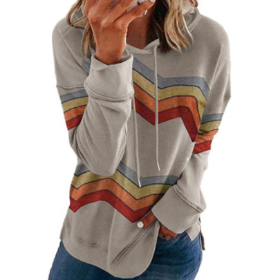 New Long-sleeved Striped Contrast Color Hooded Sweater NSBTY62672