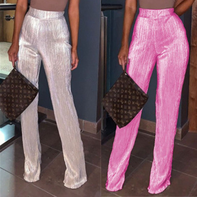 Casual Stretch Pleated Flared Pants  NSBTY62677