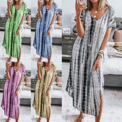 Printed Tie-dye Split V-neck Loose Thin Irregular Dress NSBTY62678
