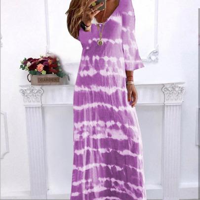 Loose V-neck Printing Long Dress  NSBTY62679