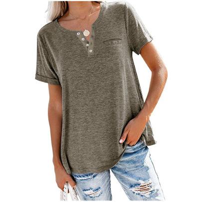 V-neck Short-sleeved Pocket Loose T-shirt  NSBTY62682