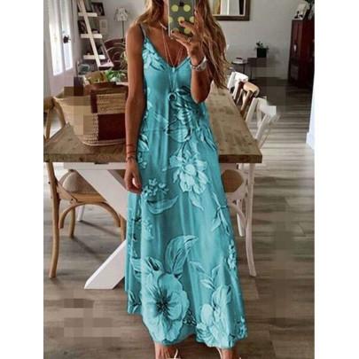 Slim Long Flower Suspender Dress NSBTY62688