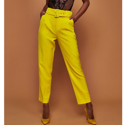 Solid Color Nine-point Straight Trousers With Belt NSBTY62691